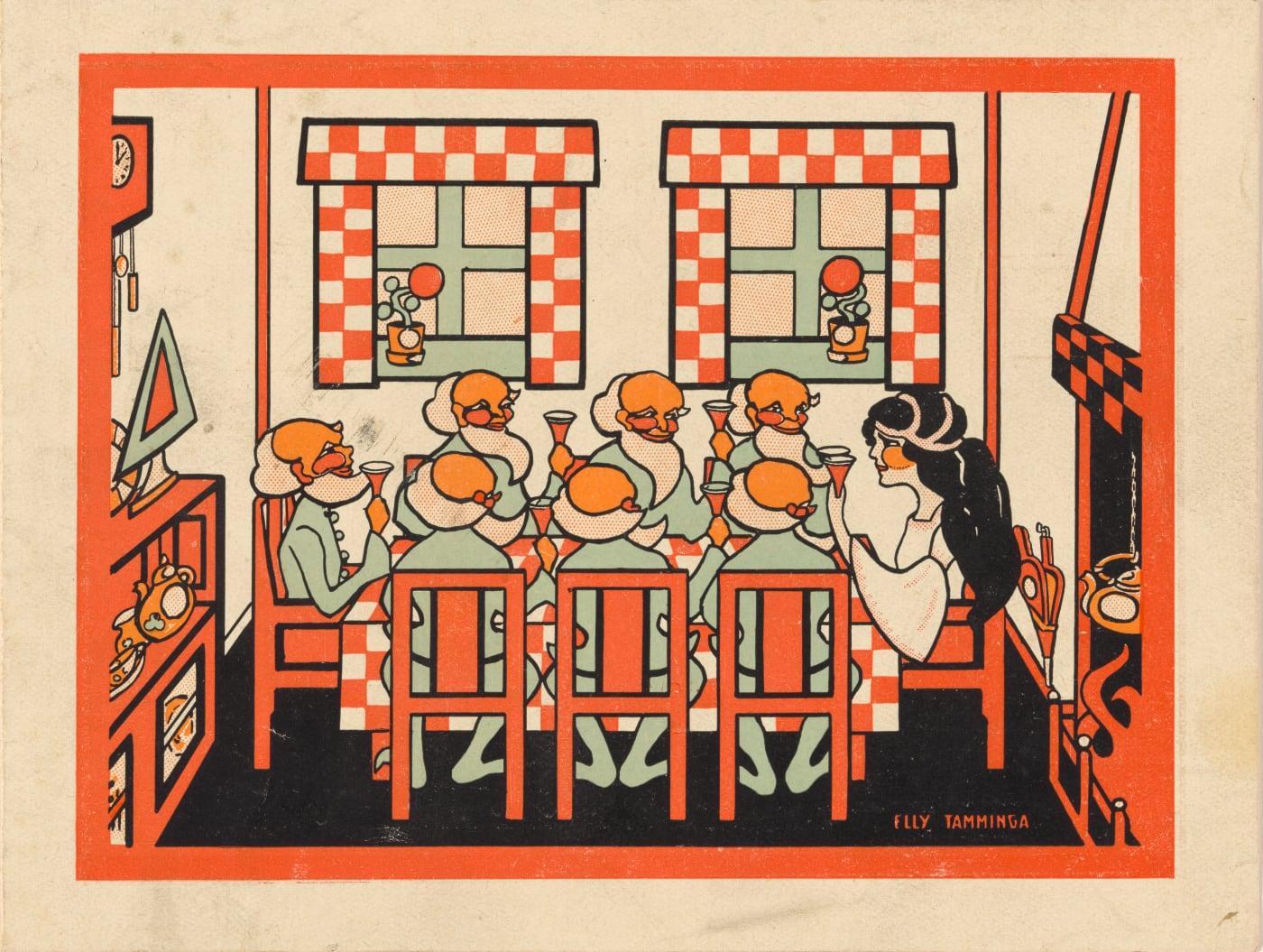 Folder voor Kabouter Speelgoed door Elly Tamminga, met Sneeuwwitje en de zeven dwergen op Haagse School stoeltjes