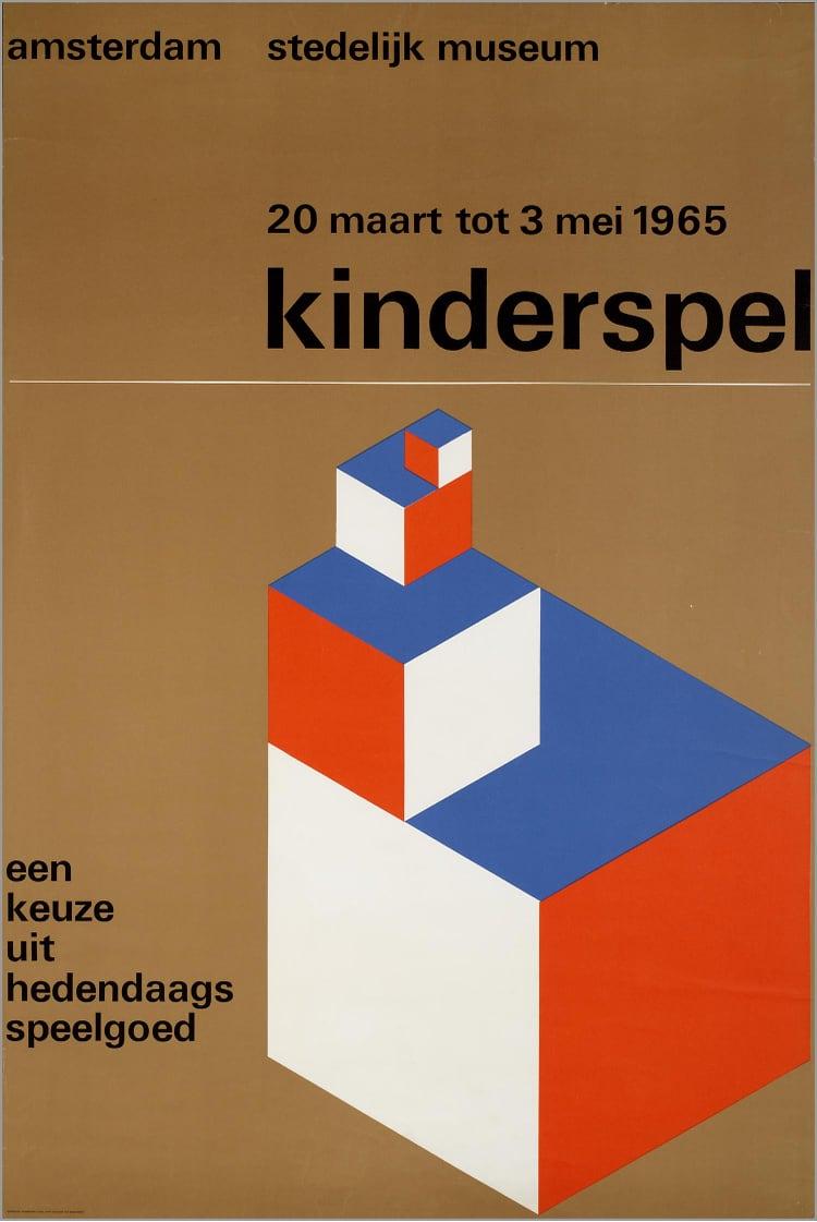 Poster van de tentoonstelling Kinderspel in het Stedelijk Museum